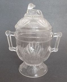 Duncan EAPG Shell & Tassel w/ Dog Finial Pattern Glass Covered Sugar Bowl |