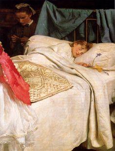 John Everett Millais: Sleeping. Oil on canvas