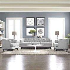 Ways To Make Extra Money Discover Ivy Bronx Thomaston 3 Piece Living Room Set 3 Piece Living Room Set, Boho Living Room, Living Room Grey, Home And Living, Small Living, Living Room Wall Colors, Grey Living Room Ideas Color Schemes, Living Room Decor And Paint Ideas, Decorating With Gray Walls