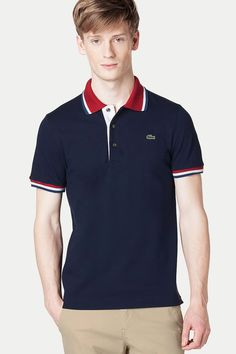 Lacoste Short Sleeve Tipped Stretch Pique Polo.
