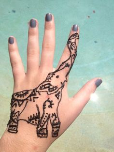 Henna Tattoo - what a pretty elephant. This culture rings true with me. I do like tattoos but do not want permanent Inc on my skin so Henna tattoo's are more my thing, plus you can change them when you want. Henna Mehndi, Henna Art, Mehendi, Arabic Mehndi, Henna Elephant, Elephant Tattoos, Elephant Ring, Animal Tattoos, Henna Tattoo Designs