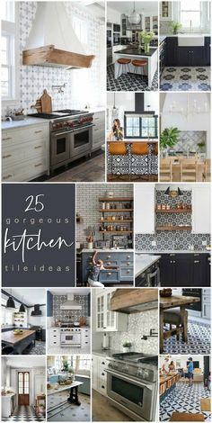 25 Gorgeous Modern Farmhouse and Cottage Kitchen Tile Ideas. Update your kitchen easily with tile. There are some gorgeous on-trend ways to bring style and personality to your home! Cottage Kitchen Tiles, Modern Farmhouse Bathroom, Cottage Kitchens, Provence Kitchen, Navy Cabinets, Geometric Tiles, Black And White Tiles, Kitchen Flooring, Modern Farmhouse Powder Room