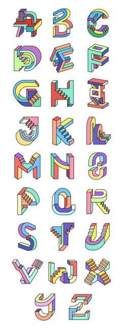 tipografias-diferentes-alfabeto-escada-non-impossible