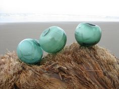 Japanese Glass Fishing Floats - Set of 3, Baseball Size, Alaska Beachcombed, Shades of Green