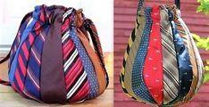 Une idée pour recycler des cravates inutilisées, en faire des sacs à main 100 % cravates. Découvrez quelques modèles de sacs réalisés entièrement avec des cravates et un tuto.. Mesdames si vous n... Tie Crafts, Tie Dress, Cloth Bags, Mosaic Art, Gym Bag, Upcycle, Recycling, Creations, Model