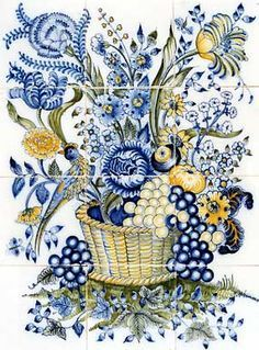 bouquet with bird and grapes - Dutch Tiles from Holland - Amsterdam Corporation Tile Murals, Tile Art, Blue Kitchen Tiles, Delft Tiles, Talavera Pottery, Antique Tiles, Style Tile, China Painting, Blue Flowers