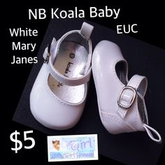 Newborn Koala Baby Size 0 EUC White Mary Janes $5 Buy this product right on Facebook https://admin.shoptab.net/linkbacks/222259341 Only ONE Available in Size Shown! FREE SHIPPING w/purchase of 5/items. CC, Debit & PayPal Welcome. Pick up LOCAL in La Marque Like our Facebook Page https://www.Facebook.com/GalvestonCountyBabyGirlHeaven