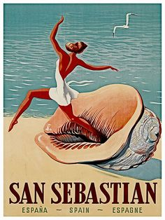 Spain Travel Art Print San Sebastian Vintage by Blivingstons