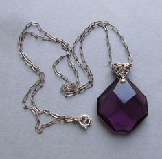 Antique Sterling Silver Filigree Amethyst Glass Art Deco Pendant Necklace Jewelry