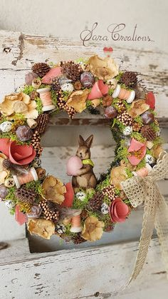 Pine Cone Art, Pine Cones, Easter Toys, Easter Crafts, Crochet Toys, Cross Stitching, Happy Easter, Flower Arrangements, Christmas Wreaths