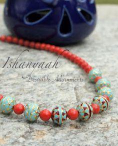 Ishanyaah: Coral and Turqouise Minakari Accent Beads