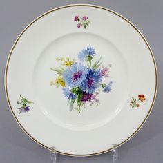 KPM Berlin Teller mit bunter Blumenmalerei, um 1900, D= 24,5cm #2 in Antiquitäten & Kunst, Porzellan & Keramik, Porzellan | eBay