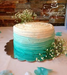Aqua Ombre Wedding Shower Cake 3 layers of yellow cake with buttercream icing by Tiffany's Creative Cakes in Springboro Ohio.