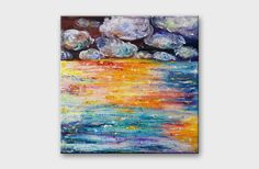 16x16 painting on canvas - Modern abstract art - Colorful seascape painting - Sea wall decoration - Modern original office art - Abstract landscape