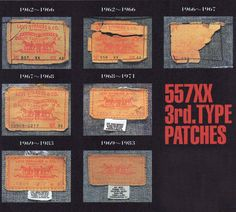 The evolution of Type III jacket-patches. Notice how the label get's smaller at the end of the and notice the care label on the labels. Image via Midwest Vintage. Denim Jacket Patches, Levi Denim Jacket, Denim Jackets, Vintage Levis Denim Jacket, Vintage Denim, Men's Denim, Vintage Tags, Vintage Labels, Vintage Clothing For Sale