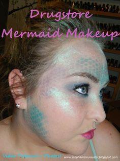 Drugstore Mermaid Costume Makeup Tutorial- with Scales & Glitz!