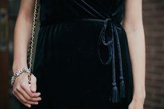Black tassel velvet