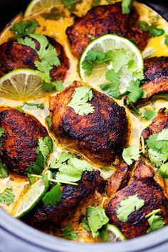 Tender and juicy seasoned and pan seared chicken thighs slow cook with a flavorful and light cilantro lime sauce.  This ...