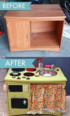 I look at the sink, knobs, hinges, fabric, paint and I see a whole lot of money; but I still love the idea of repurposing things others are going to throw away. I also love the idea of the love and hardwork put into making a gift your kid will love.