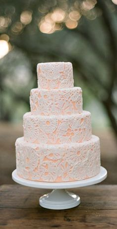 Lace accent with wedding color fondant underneath; will have to remember this