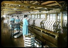 Re-reeling silk Enami Studio Lantern Slide No : 661. About 1920's, Japan