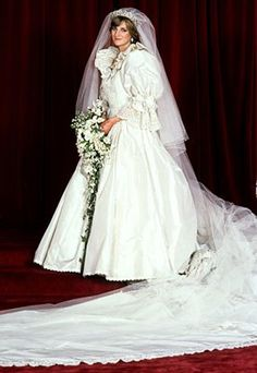 1981-  She collaborated on her wedding gown with little-known design team David and Elizabeth Emanuel.