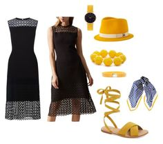 """""""If the moon was this yellow, and the night sky this black.... We'd open our eyes a little wider"""" by evelyngiles ❤ liked on Polyvore featuring Hobbs, Maison Michel, Kim Rogers, Louis Vuitton, Hinge, Abbott Lyon and Black"""