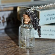 Handmade Make a Wish Real Dandelion Seed Mini bottle Vial Necklace - Silver Bottle Necklace, Dog Tag Necklace, Make A Wish, How To Make, Mini Bottles, Silver Necklaces, Dandelion Seeds, Unique Jewelry, Handmade Gifts