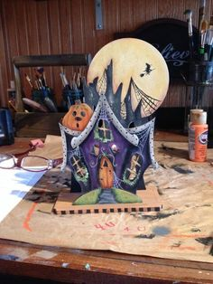 Painted from a Jamie Mills-Price design. Country Halloween, Halloween Ii, Halloween Cartoons, Halloween Painting, Halloween Drawings, Halloween Prints, Halloween Haunted Houses, Outdoor Halloween, Halloween Projects