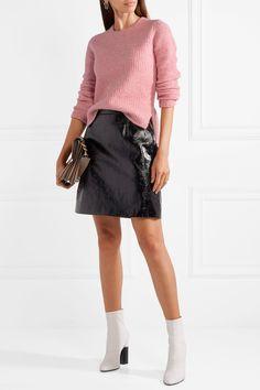 rag & bone | Francie suede-trimmed ribbed merino wool-blend sweater | NET-A-PORTER.COM