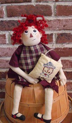 Primitive Folk Art Raggedy Doll