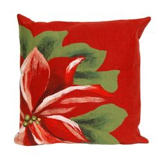 Red Poinsettia Pillow #holiday #Christmas