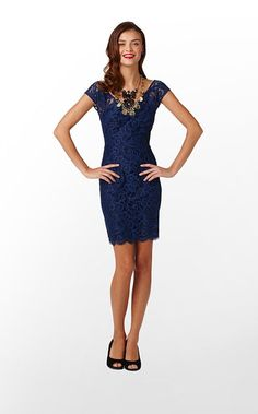 Rosaline Dress in Bright Navy About Face Lace $278 (w/o 8/12/12) #lillypulitzer #fashion #style