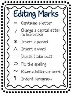 Common editing symbols