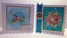2 Christmas cards using Distress inks and Tim Holtz stamps by bali