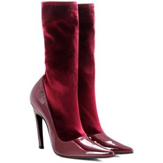 Balenciaga Velvet and Patent Leather Boots ($900) ❤ liked on Polyvore featuring shoes, boots, red, red velvet shoes, balenciaga, patent leather shoes, balenciaga shoes and velvet shoes