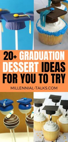 Delicious Graduation Dessert Ideas For Your Party - Millennial Talks Graduation Party Desserts, Graduation Cupcakes, Flourless Chocolate Cakes, Chocolate Chip Recipes, Chocolate Chips, No Cook Desserts, Delicious Desserts, Dessert Table, Dessert Ideas