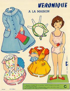 French Paper Dolls - I love how the dresses are designed to wrap around the doll's legs to suggest depth