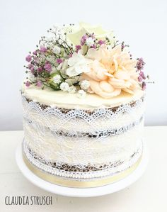 Un-stacked Shabby Chic Naked Wedding Cake with Edible Cake Lace and ...