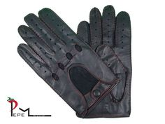 Men's charcoal grey lambskin leather driving gloves by PEPEMODA Leather Driving Gloves, Lambskin Leather, Charcoal, Trending Outfits, Best Deals, Grey, Unique Jewelry, Handmade Gifts, Stuff To Buy