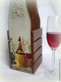 Корзины, коробы ручной работы. Ярмарка Мастеров - ручная работа Короб для вина декупаж Красное Вино. Handmade.