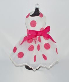 Bella's White and Hot Pink Polka Dot Harness Dog Dress – SpoiledDogDesigns.com - Palm Springs, CA - Designer Dog Clothing