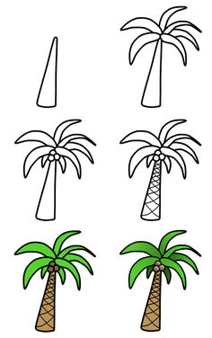 to draw palm trees A nice cartoon palm tree can easily be drawn using these six amazing steps! :)A nice cartoon palm tree can easily be drawn using these six amazing steps! Cute Easy Drawings, Art Drawings For Kids, Doodle Drawings, Cartoon Drawings, Art For Kids, Cartoon Eyes, Funny Drawings, Bird Drawings, Easy Graffiti Drawings