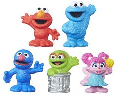 The crew is all here! With the Sesame Street Collector Figure you'll get five great Playskool figures of Elmo, Cookie Monster, Grover, Oscar the Grouch, Sesame Street Toys, Sesame Street Cookies, Sesame Street Characters, Sesame Street Party, Sesame Street Birthday, Easter Toys, Elmo Birthday, Birthday Ideas, Twin Birthday