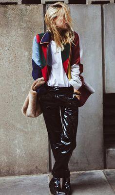 Colorblock jacket + patent leather pants