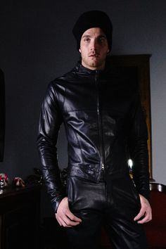 our man of the future .. leather pants and jacket suit ...