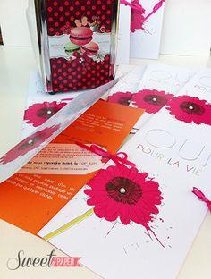 faire part mariage estival rose et orange www.sweetpaper-fairepart.fr