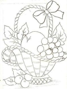 68 Ideas For Fruit Basket Drawing Paintings Hand Embroidery Patterns, Applique Patterns, Vintage Embroidery, Ribbon Embroidery, Embroidery Stitches, Machine Embroidery, Fruit Basket Drawing, Colouring Pages, Coloring Books