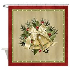 Pretty Tan Christmas Bells Shower Curtain > Christmas Holiday > MarloDee Designs Shower Curtains