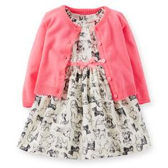 Poplin Print Dress & Cardigan Set | I used to have a black dress I remember being my favorite because it had different types of dogs on it. | Carters $27